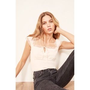 REFORMATION OPHELIA LACE TRIM TOP ♥️IN STORES♥️